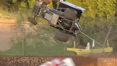 Scotty Thiel Flips into the Fence at the Plymouth Dirt Track