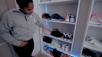 Jordan Chiles Shows Off Sneaker Collection