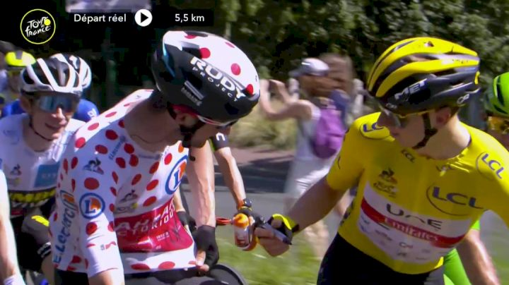Tadej Pogacar signs Wout Poels Jersey During Stage 21