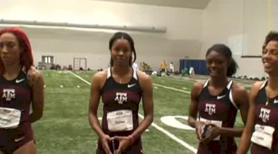 Ashley Collier, Dominique Duncan, Olivia Ekpone, and LaKeidra Stewart after 60m at 2012 Big 12 Championships
