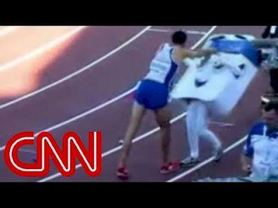 Mahiedine Mekhissi-Benabbad celebrates Euro title by shoving 14 year old mascot