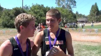 Vacaville's Jordan Kurtz(3rd) and Brandon Larson(4th) after large school varsity race at 2012 Ed Sias XC Invite