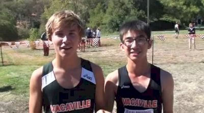 Vacaville's Tim Beckman(2nd) and Liang Chin Su(10th) after Boy's FS JV Unlimited race at 2012 Ed Sias XC Invite