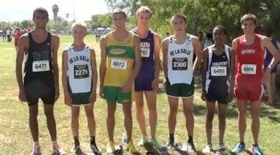Post race gathering of top 7 varsity boy's finishers at 2012 DLS CHS Nike Invite