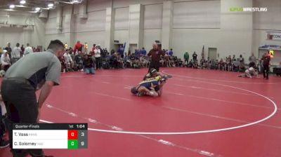 90 lbs Quarterfinal - Tyler Voss, Kansas Outlaws (M) vs Cole Solomey, Indiana Blue (M)