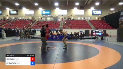 74 kg 3rd Place - Quinton Godley, Wolfpack Wrestling Club vs Jake Sueflohn, Boilermaker RTC