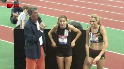 Mary Cain and Sarah Bowman after HS national mile record and win at 2013 NB Games