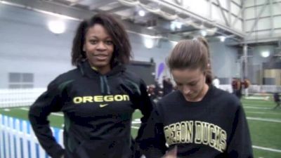 Laura Roesler and Phyllis Francis leading Oregon 4x400 at 2013 MPSF Champs