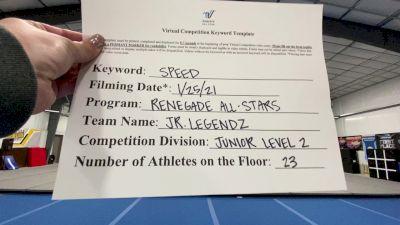 Renegade All Stars - Jr. Legendz [L2 Junior - D2 - Medium] 2021 Varsity All Star Winter Virtual Competition Series: Event I