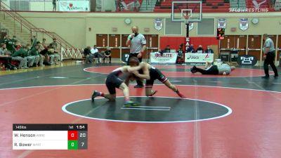 145 lbs Semifinal - Wyatt Henson, Waynesburg vs Riley Bower, Williamsport