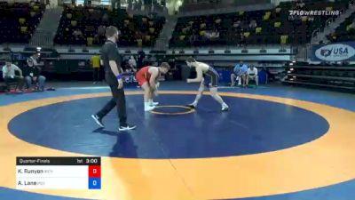 97 kg Quarterfinal - Kalob Runyon, Iron Rams Wrestling Club vs Austin Lane, Indiana