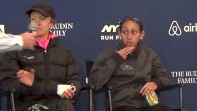 Deena Kastor and Desi Linden Brave the Wind in NYC