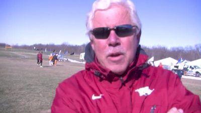 Lance Harter of Arkansas looks at women's team race