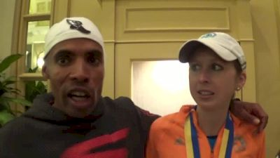 Meb and Hilary Dionne show awesome sportsmanship at Boston finish line
