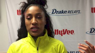 Queen Harrison reacts after record shuttle hurdle performance at Drake Relays