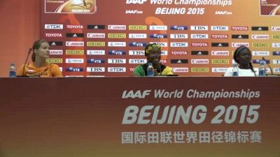 Tori Bowie, Dafne Schippers and Shelly-Ann Fraser-Pryce at 100m press conference
