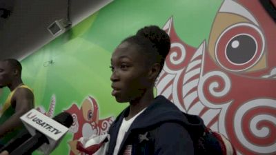 Tianna Bartoletta after winning long jump gold 10 years apart