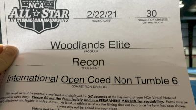 Woodlands Elite - Recon [L6 International Open Coed - NT] 2021 NCA All-Star Virtual National Championship