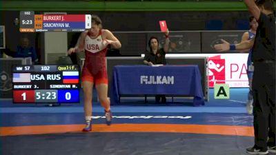 57 kg Prelims - Jenna Burkert, USA vs Marina Simonyan, RUS