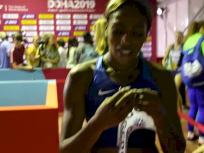 Raevyn Rogers Wins 800m Heat To Move On To Semis