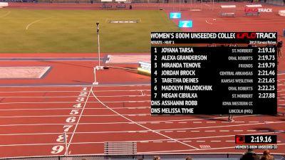Women's 800m Unseeded, Heat 4