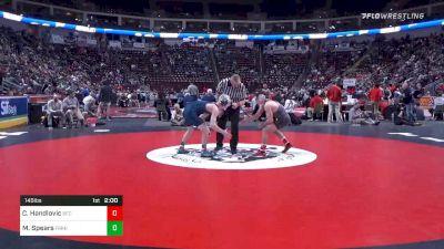 145 lbs Quarterfinal - Cole Handlovic, Beth Catholic vs Mason Spears, Franklin Regional