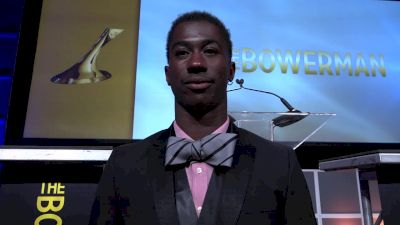 Marquis Dendy reacts to becoming the first Florida Gator to win the Bowerman Award
