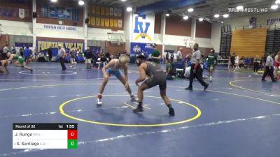 152 lbs Prelims - Josh Runge, Granite Hills vs Sonny Santiago, St John Bosco