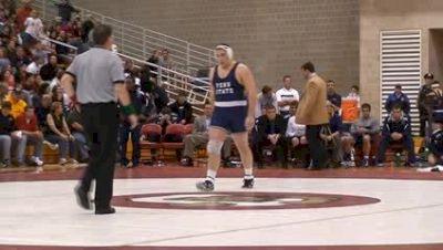 285 lbs college match, Wade Cameron, Penn State, vs Zach Hammond, Cornell,