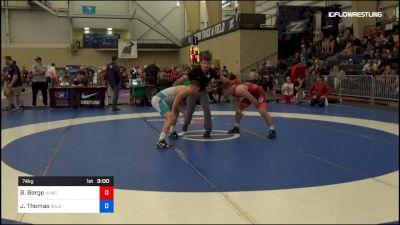 74 kg Semifinal - Brady Berge, Nittany Lion Wrestling Club vs Justin Thomas, Oklahoma