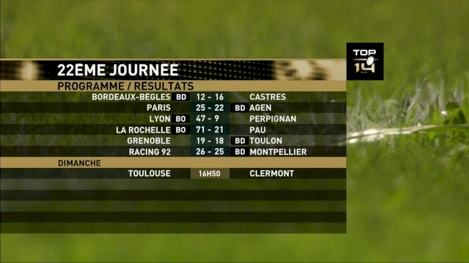 French Top 14 Round 22 Toulouse vs Clermont