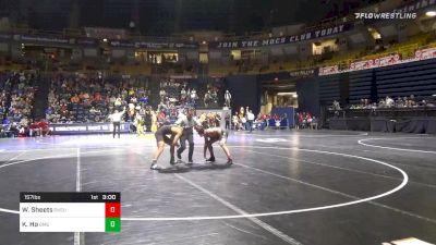 157 lbs Quarterfinal - Wyatt Sheets, Oklahoma State vs Kolby Ho, George Mason