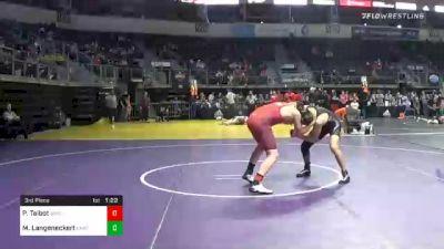 160 lbs 3rd Place - Porter Talbot, Swc vs Mason Langeneckert, Unattached