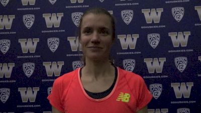 Kim Conley after soloing world lead (15:09) in the 5K at UW Invite