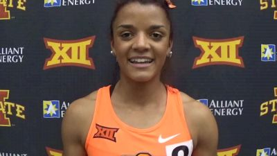 Kaela Edwards after winning mile, 1k and running 4x4 at Big 12, Still undecided for NCAAs