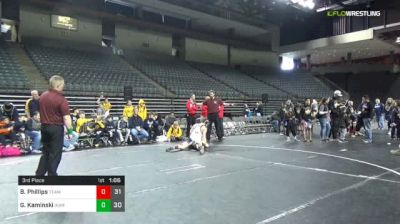 160 lbs 3rd Place - Bryce Phillips, Team PA Gold (E) vs Gabriel Kaminski, IKWF Gold (E)