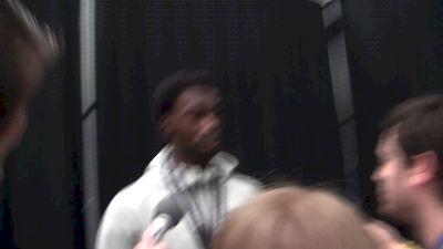 Marquis Dendy after winning LJ at USATF Indoors