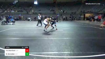 141 lbs Consolation - Marckis Branford, Clackamas vs Blake Gonzalez, Northeastern Oklahoma