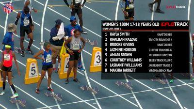 Girls' 100m, Final - Age 17-18