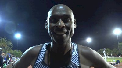 Bernard Lagat after breaking Masters 10K World Record at Payton Jordan