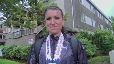 Jenna Prandini after out leaning Allyson Felix in 200m final