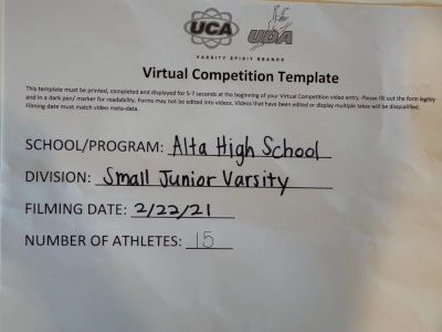 Alta High School [Junior Varsity Show Cheer Intermediate] 2021 USA Virtual Spirit Regional #3