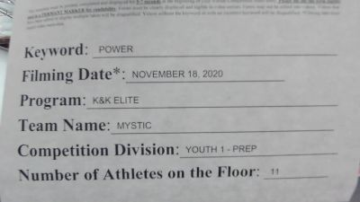 K & K Cheer Empire - Mystic [L1.1 Youth - PREP - D2] Varsity All Star Virtual Competition Series: Event V