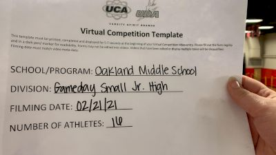 Oakland Middle School [Game Day Small Junior High] 2021 UCA February Virtual Challenge