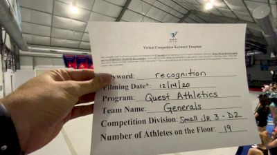 Quest Athletics - Generals [L3 Junior - D2 - Small - B] 2020 America's Best Virtual National Championship