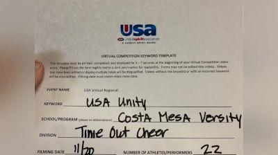 Costa Mesa High School [High School – High School Situational Sideline/Crowdleading Cheer] 2020USA Virtual Regional