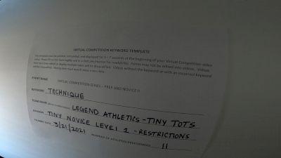 Legend Athletics [L1 Tiny - Novice - Restrictions] 2021 Varsity Virtual Competition Series - Prep & Novice II