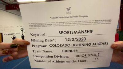 Colorado Lightning Athletics - Thunder [Level 3 L3 Junior - D2 - Small] Varsity All Star Virtual Competition Series: Event VI
