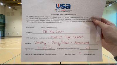 Foothill High School - North Tustin [Varsity - Song/Pom - Advanced Prelims] USA Spirit & Dance Virtual National Championships