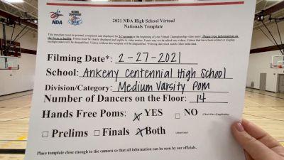 Ankeny Centennial High School [Medium Varsity - Pom Virtual Finals] 2021 NDA High School National Championship